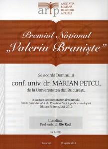 """Primul Premiu National """"Valeriu Braniste"""", acordat Domnului Conf. univ. dr. Marian Petcu"""