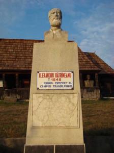 Soclul cu bustul revolutionarului pasoptist, Alexandru Batraneanu.
