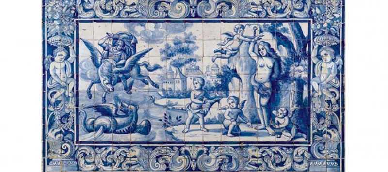 Placa de azulejos, din colectia lui Lucian Blaga (sec. XVII-XVIII).