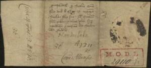 Finalul actului originar, unde se vede bine anul 1311.